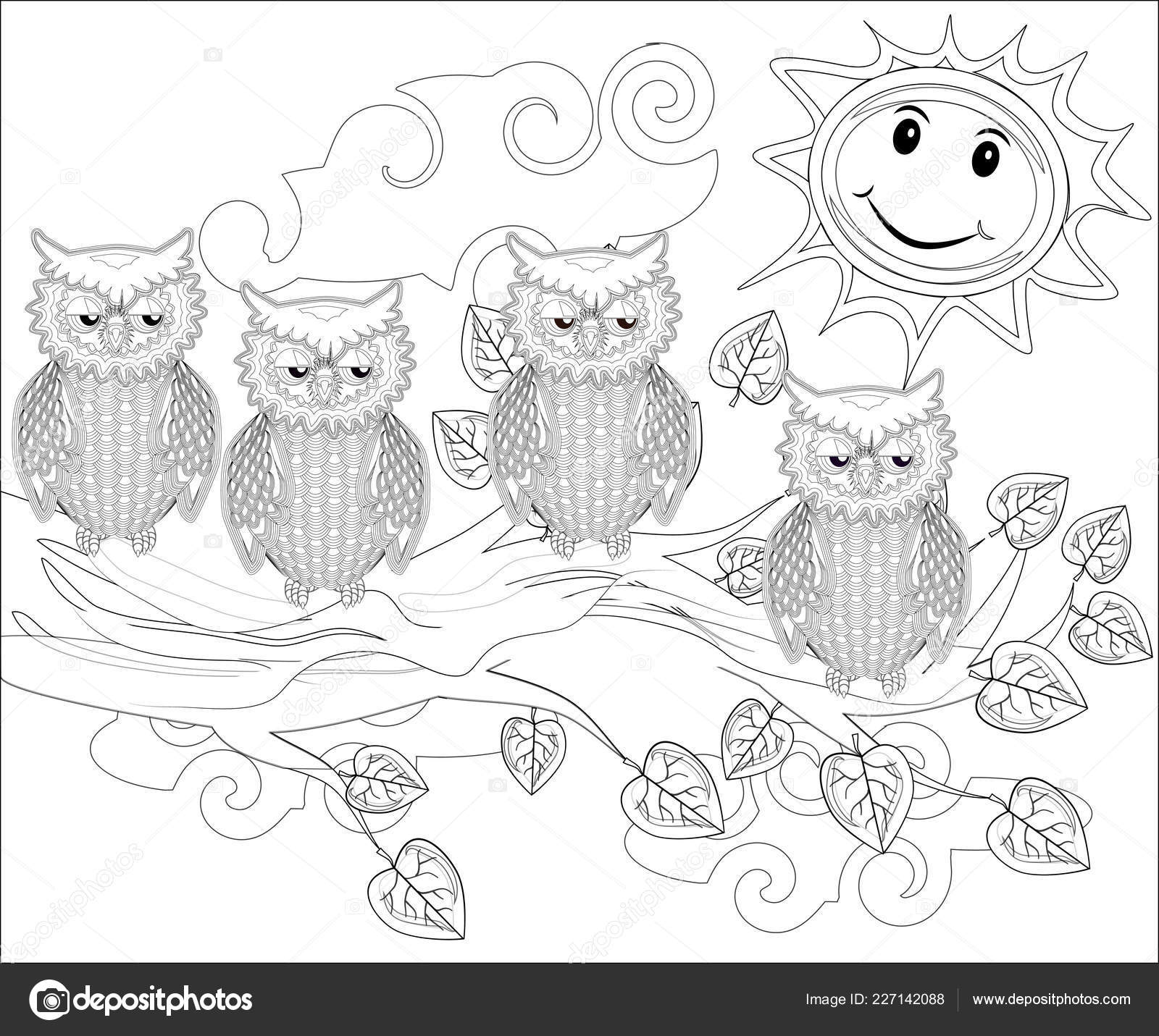 Coloring Pages Birds Cute Owl Sits Tree Stock Vector C Michiru13