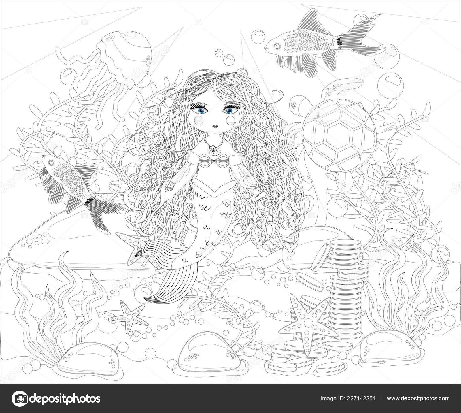 Coloriage Queue De Sirene.Belle Sirene Monde Sous Marin Stress Coloriages Pour Adulte