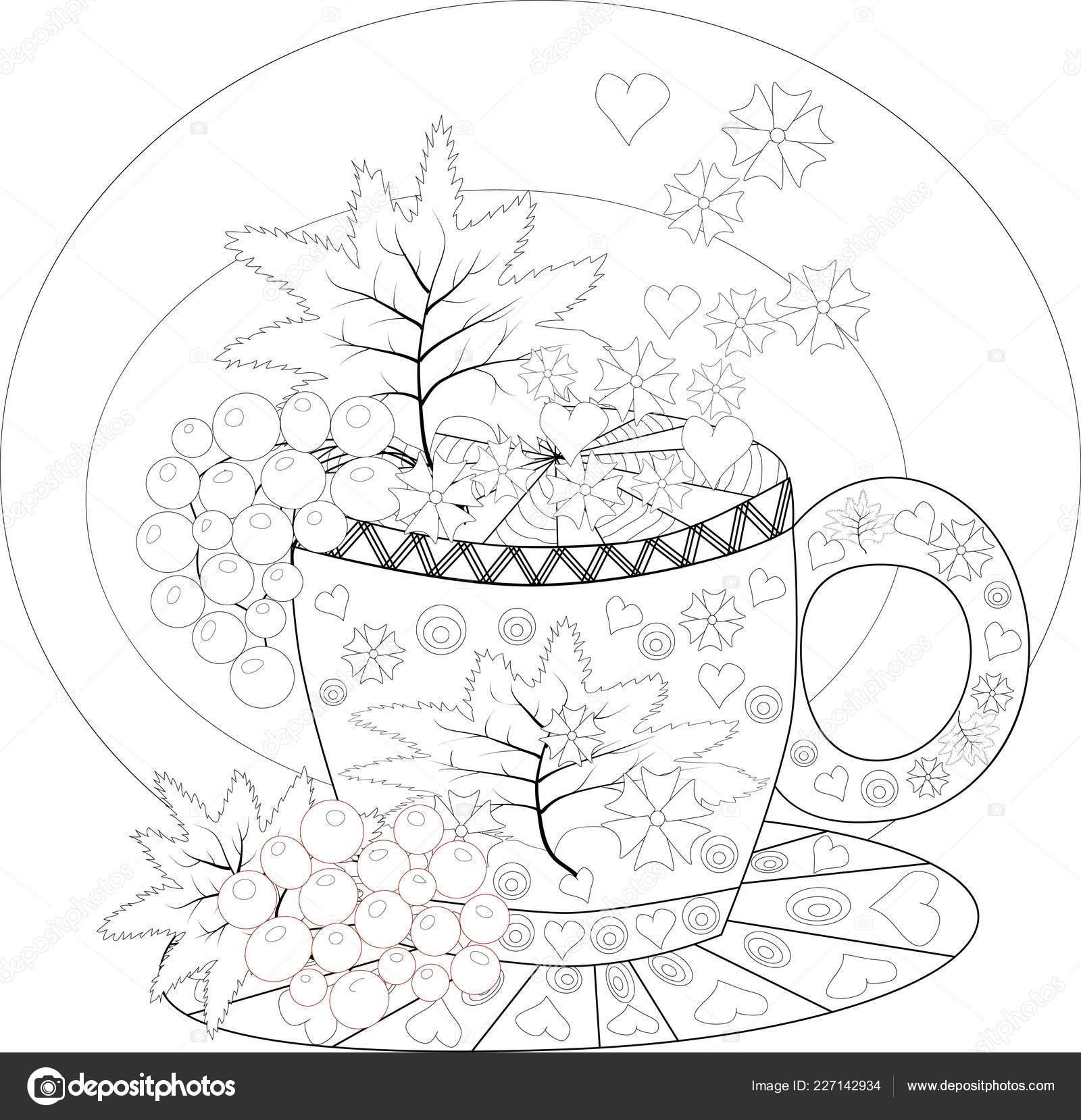 рука рисовать векторные раскраски книги взрослых чаепитие
