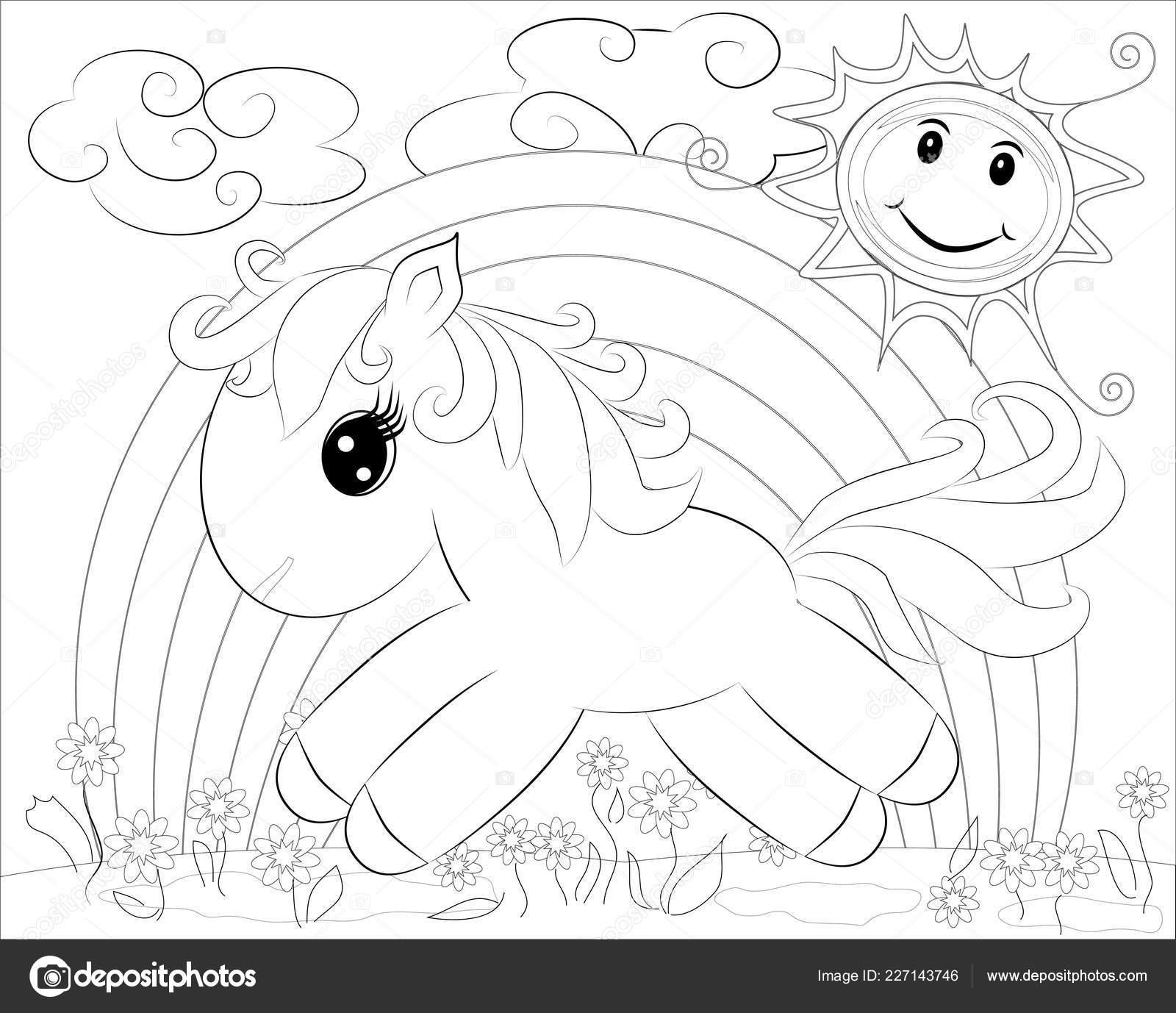 Dibujos Para Colorear Pequeño Pony Lindo Arco Iris Vector