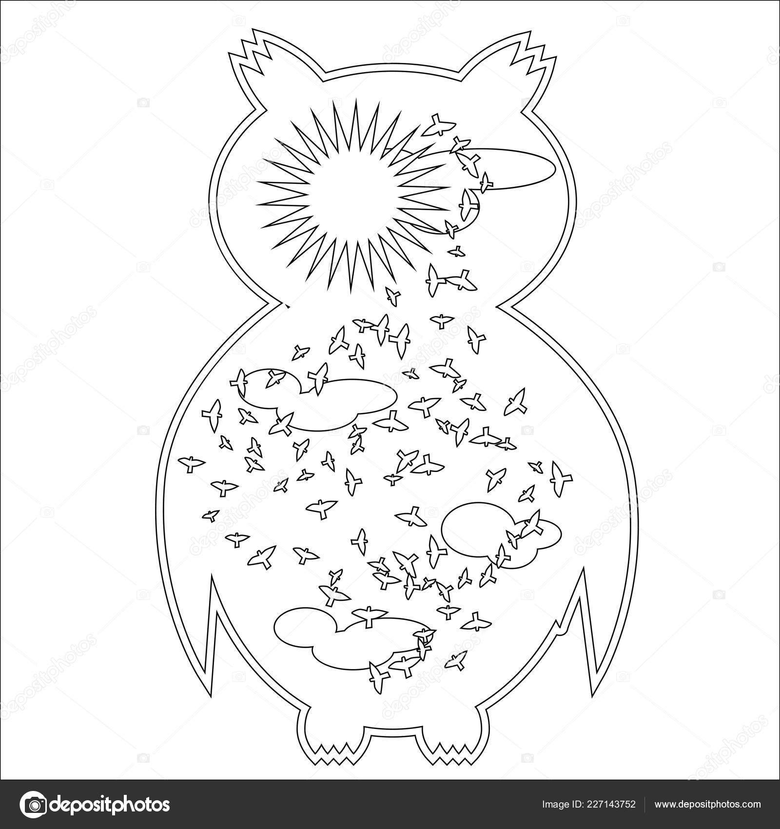 Kolorowanki Symbol Księżyca Słońca Sowa Kolorowanka Dla
