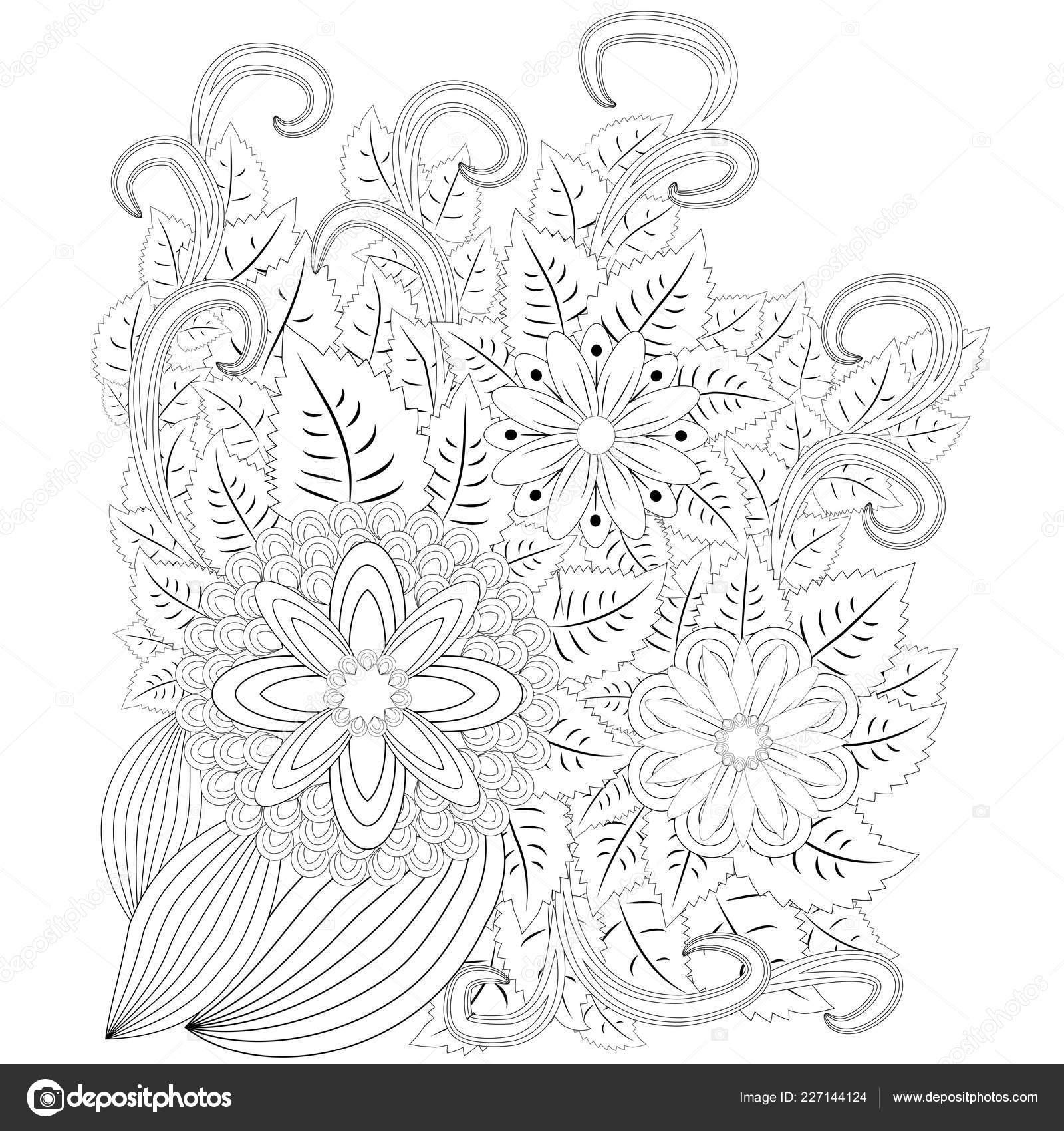 Illustration Zentangl Cadre Fleur Livre Coloriage Stress