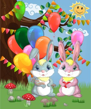 Two cute bunny with air balloons in a forest glade. clip art vector