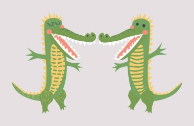 Sweet love. Scandinavian-style crocodile pair, kids print, poste
