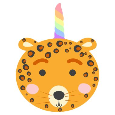 Cute leopard with a unicorn horn. Hand drawn jungle animal in scandinavian style.