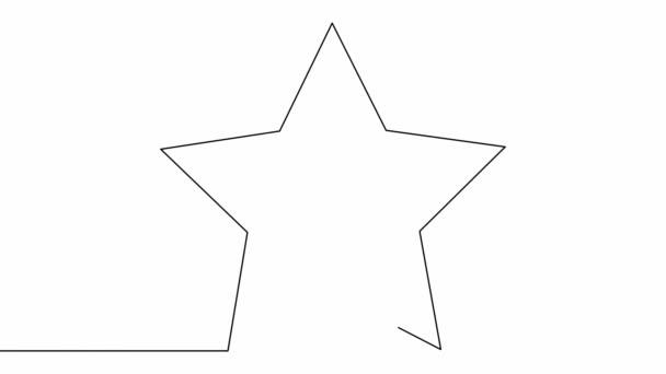 Stock video Vlastní kreslení jednoduché animace jedné souvislé kresby jedné linie pěticípé hvězdy
