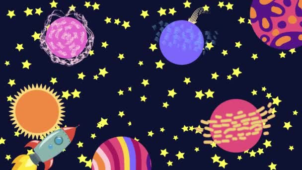 Cartoon Space. Cartoon rocket flies in outer space past the suspended planets, satellites and other objects. Flat loopback animation.