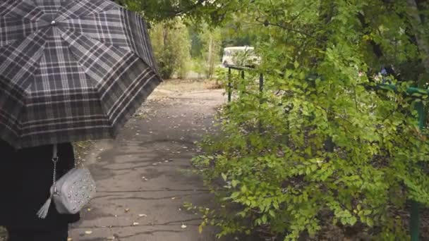 Žena s deštníkem v ruce. Podzimní počasí oblačno. Tmavá srst a kůže boty. Módní oblečení. Vintage styl
