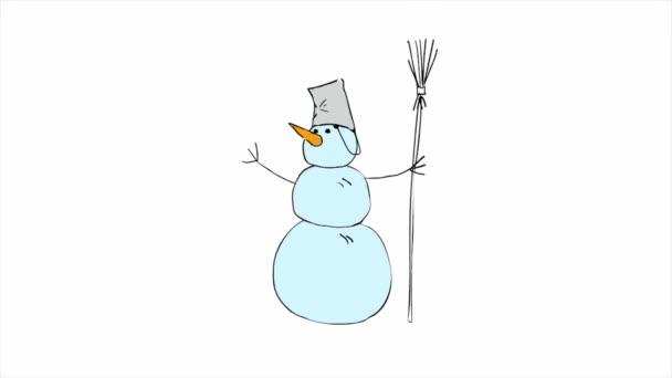 Veselé Vánoce postava sněhuláka. Taneční animace. Symbol roku. Nový rok. Na bílém pozadí.