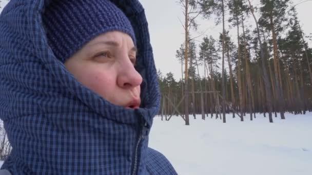 Žena v tmavém kabátku dýchá vzduchem. Studený zimní les. Bílý sníh. Jehličnaté stromy na pozadí. Cestování a turistika.