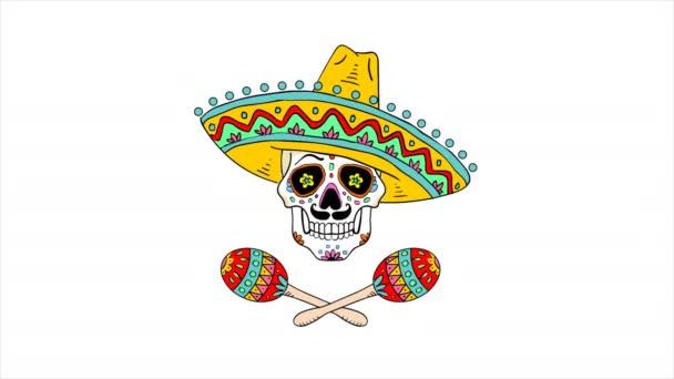 Ein bemalter Totenkopf mit mexikanischem Hut. Der Tag der Toten. Tradition und Kultur. Tanzende Maracas. Musikalischer Auftritt. Halloween-Feiertag. Schrecken und Angst. Grafisches Gestaltungselement.