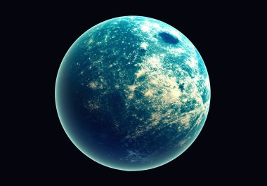 Blue earth in space and galaxy. Globe with outer glow ozone and white cloud. Space planet and Atmosphere concept. Alien and Living nature theme. Elements of this image furnished by NASA