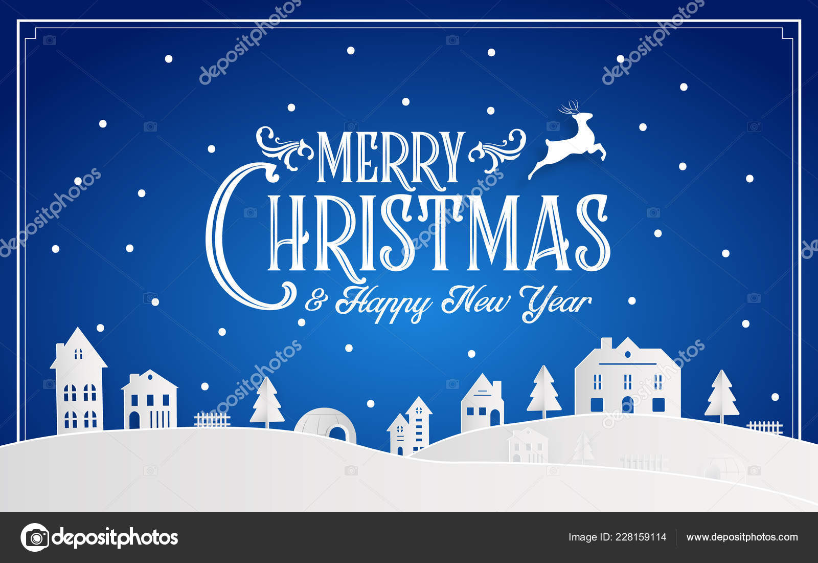 merry christmas happy new year 2019 snowy home town typography stock vector