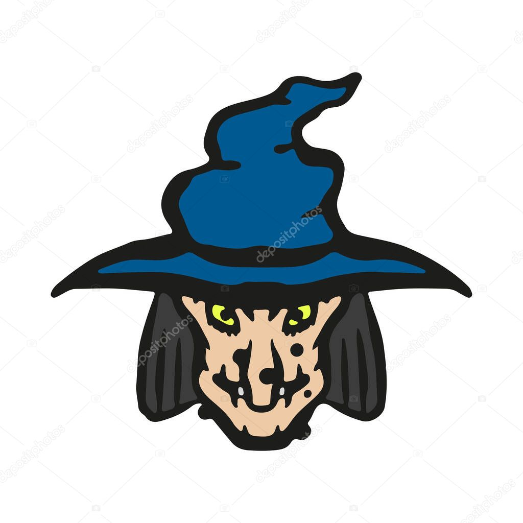 Cartoon Witch In A Hat Icon Front View Colored Outline Silhouette Hand Drawn Vector Graphic Illustration Isolated Object On A White Background Isolate Premium Vector In Adobe Illustrator Ai Ai