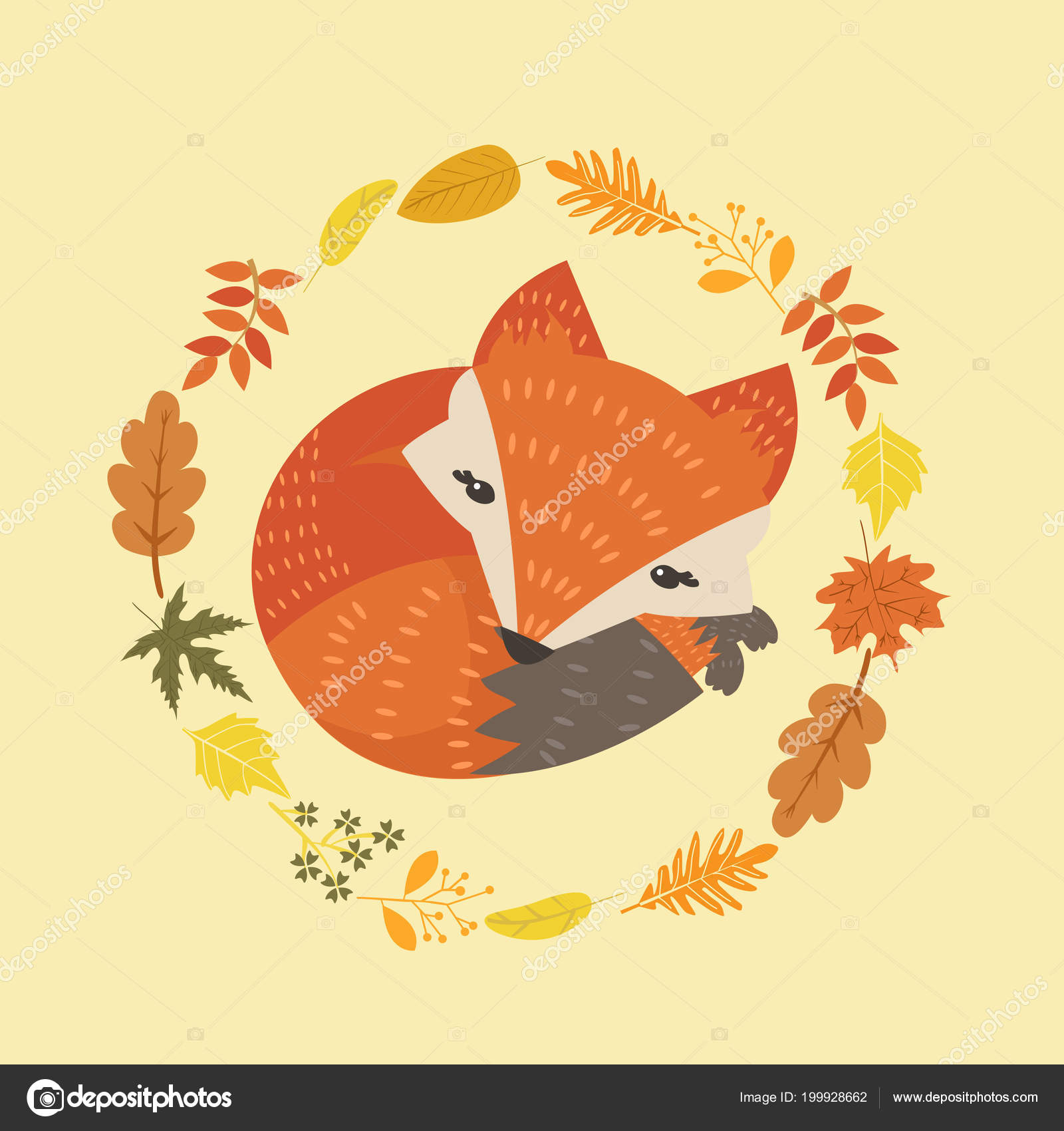 Cute Fox Leaves Decoration Circle Design — Stock Vector © focus bell