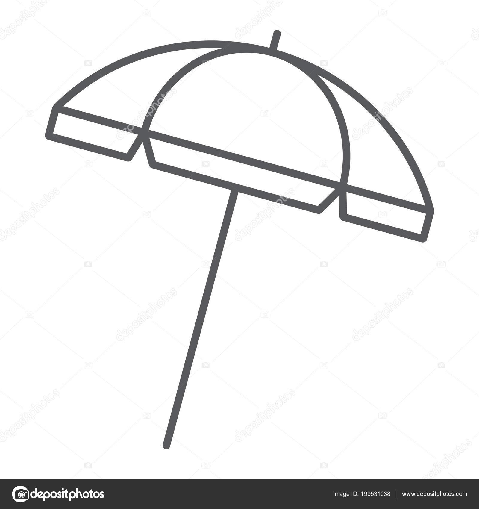 Ic ne de fine ligne de parasol plage voyage et parasol signe de parapluie de soleil vectoriel - Dessin parasol ...