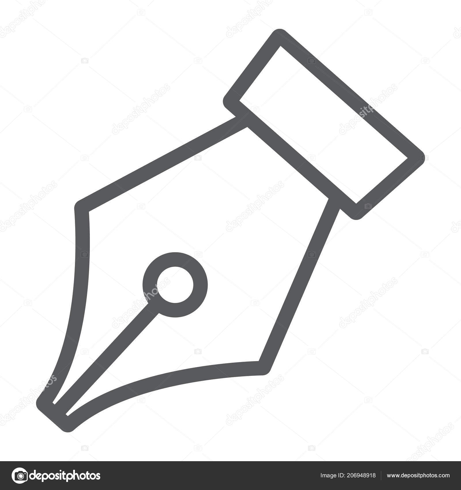 Pen tool line icon, tools and design, fountain pen sign