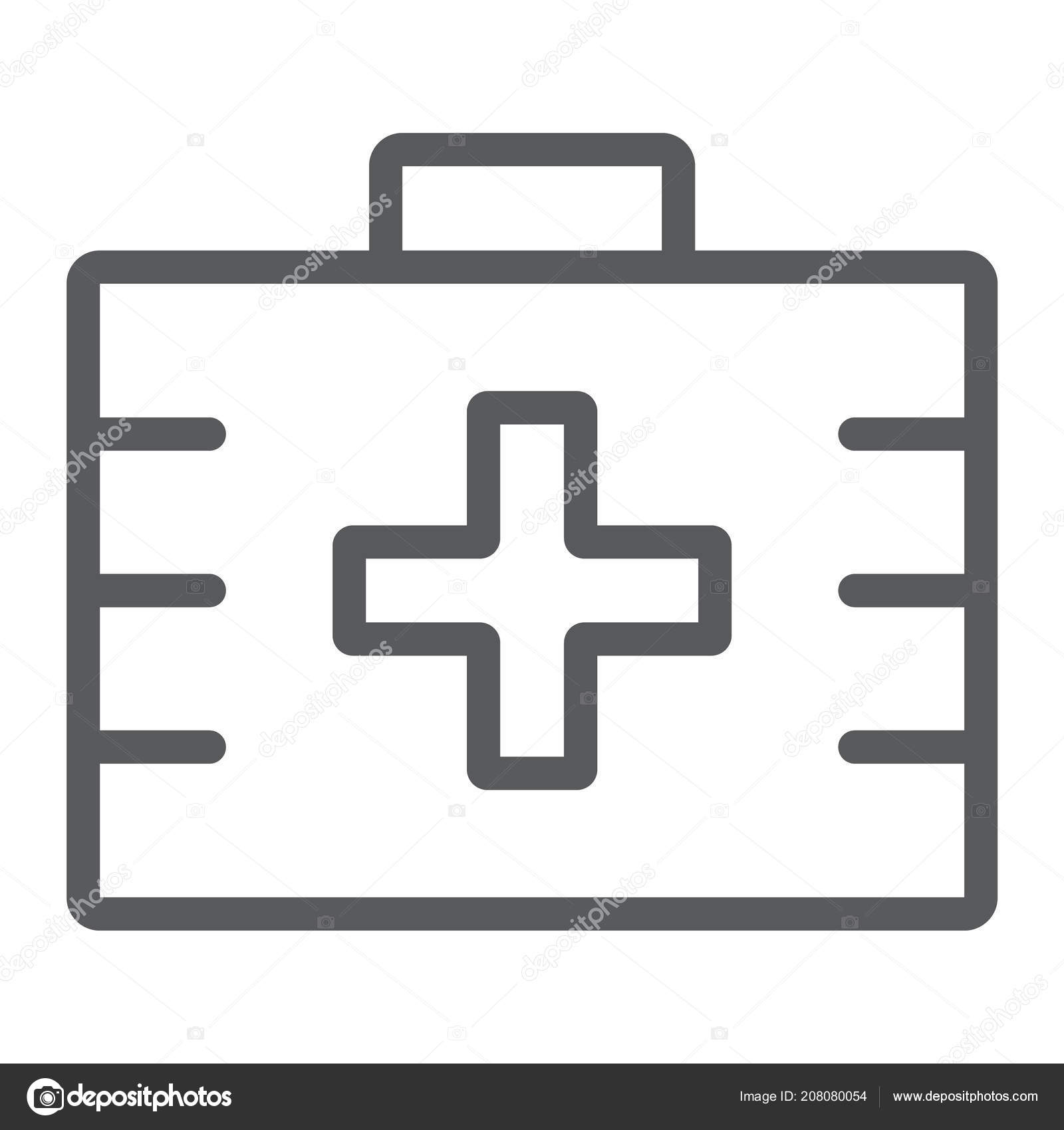 First aid kit line icon, health and clinical, medical bag sign