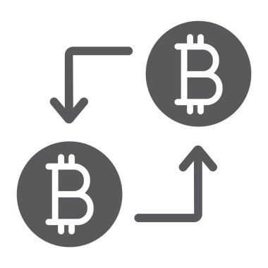 Bitcoin transaction glyph icon, money and finance, cryptocurrency sign, vector graphics, a solid pattern on a white background, eps 10.