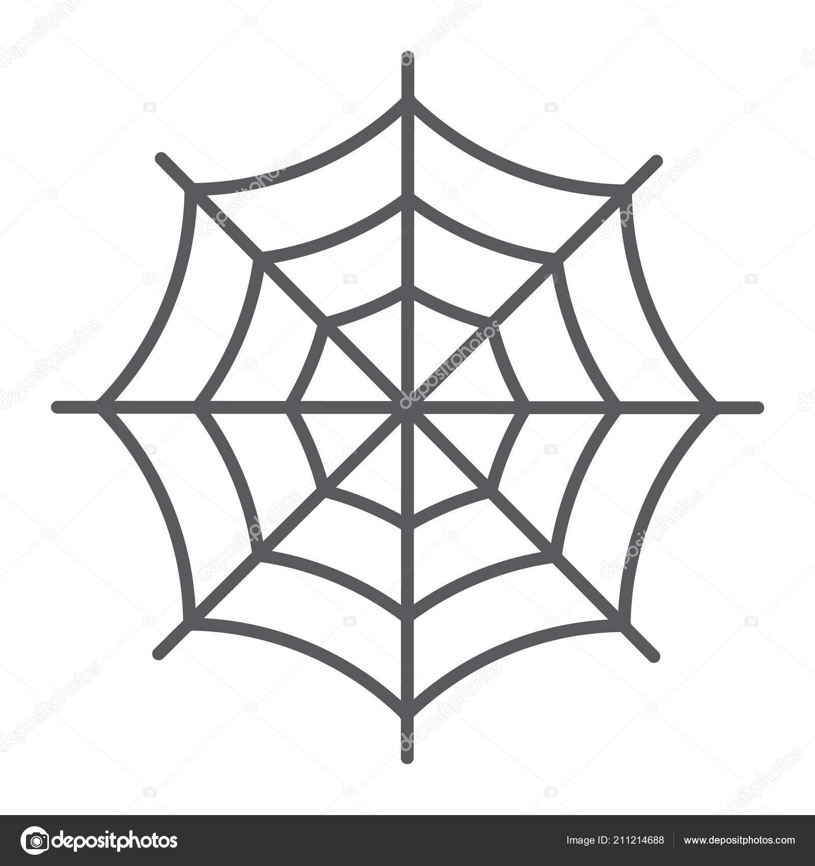Icône De Fine Ligne Spider Web Halloween Et Décoration