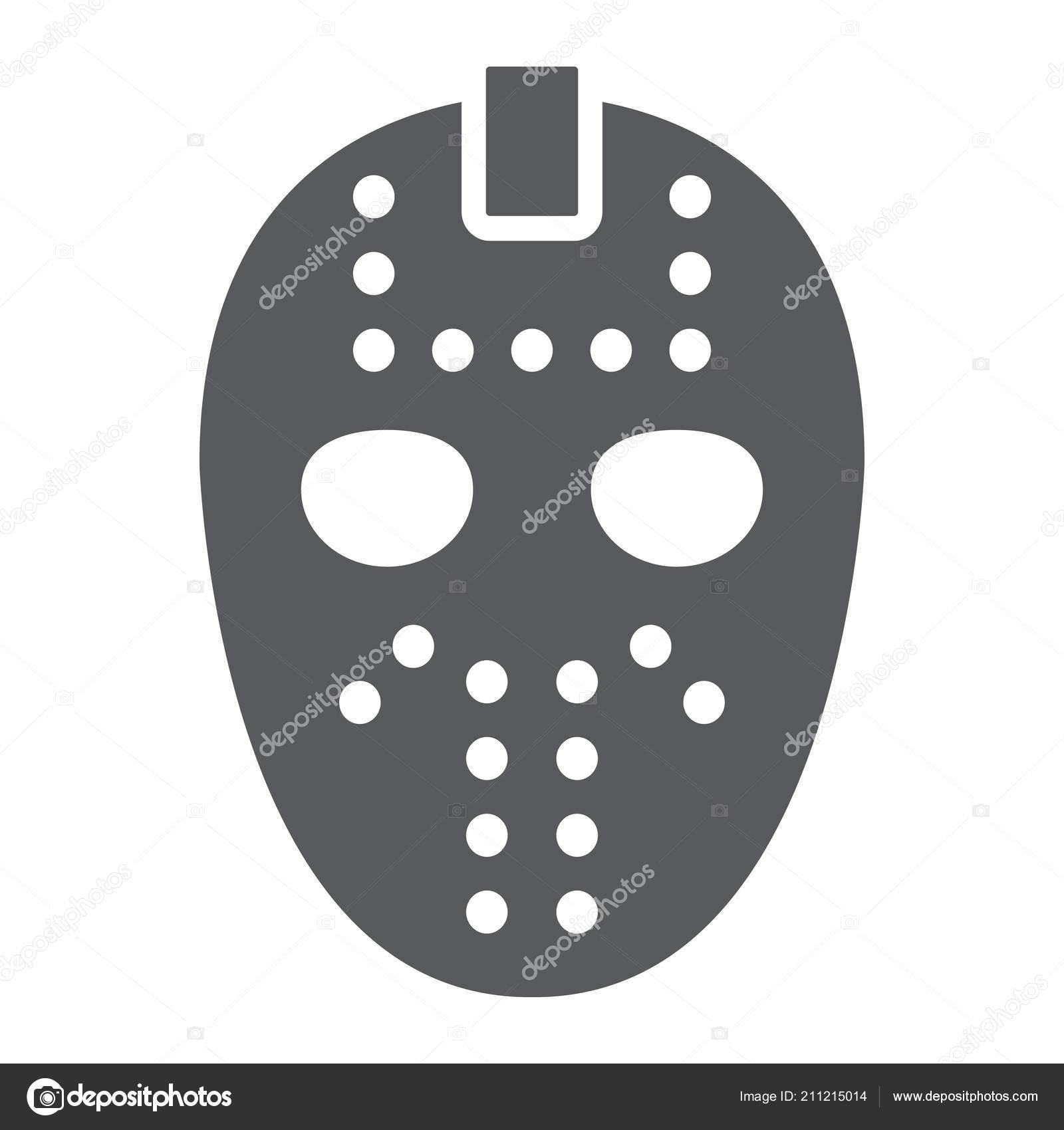 Hockey mask glyph icon helmet and mask goalie sign vector