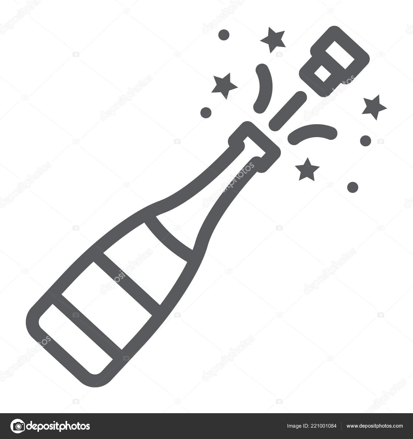 Bouteille De Champagne Dessin icône pop ligne de bouteille de champagne, alcool et la fête, boire