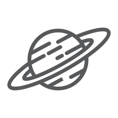 Saturn line icon, astronomy and space, planet sign, vector graphics, a linear pattern on a white background.