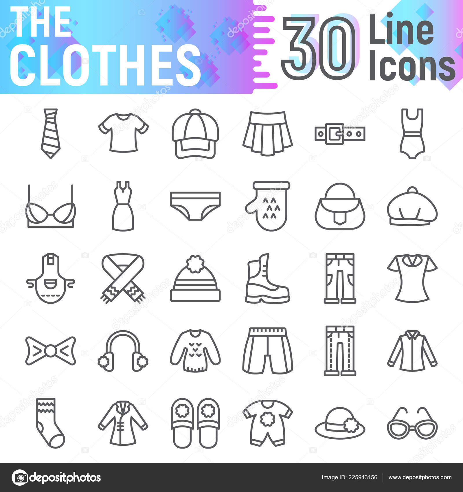 Clothing line sketches | Clothes line icon set, cloth