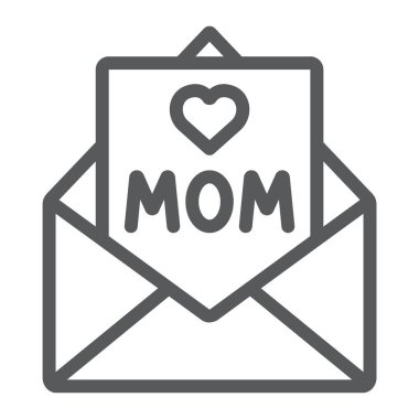 Letter for mom line icon, mail and card, envelope sign, vector graphics, a linear pattern on a white background.