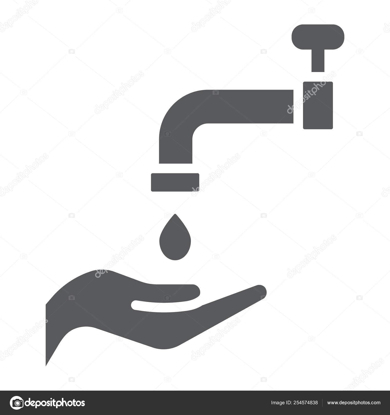 Islamic wudu glyph icon, arabic and prayer, hand wash sign, vector