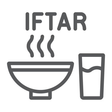 Ramadan iftar line icon, food and arabian, meal sign, vector graphics, a linear pattern on a white background.