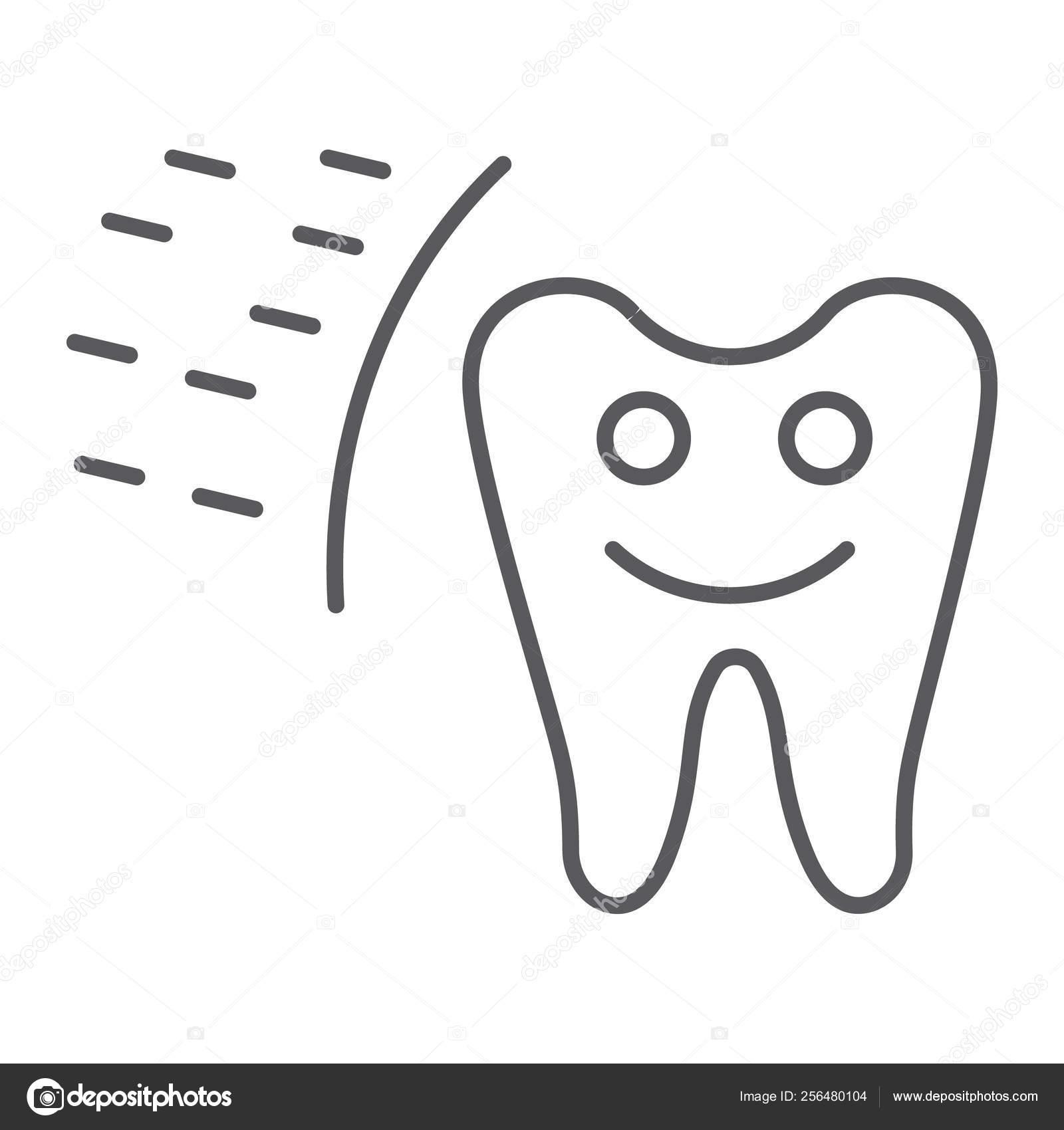 Icone Protegido Da Linha Fina Do Dente Boca E Sinal Dental