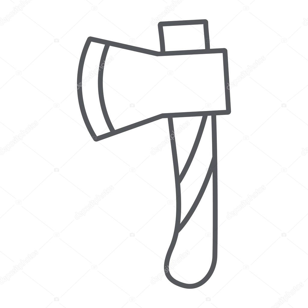 Ax thin line icon, tool and cut, axe sign, vector graphics, a linear pattern on a white background.