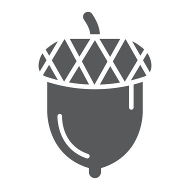 Acorn glyph icon, oak and growth, plant sign, vector graphics, a solid pattern on a white backgrond.