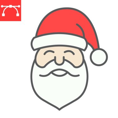 Santa Claus color line icon, merry christmas and xmas, new year sign vector graphics, editable stroke filled outline icon, eps 10 icon