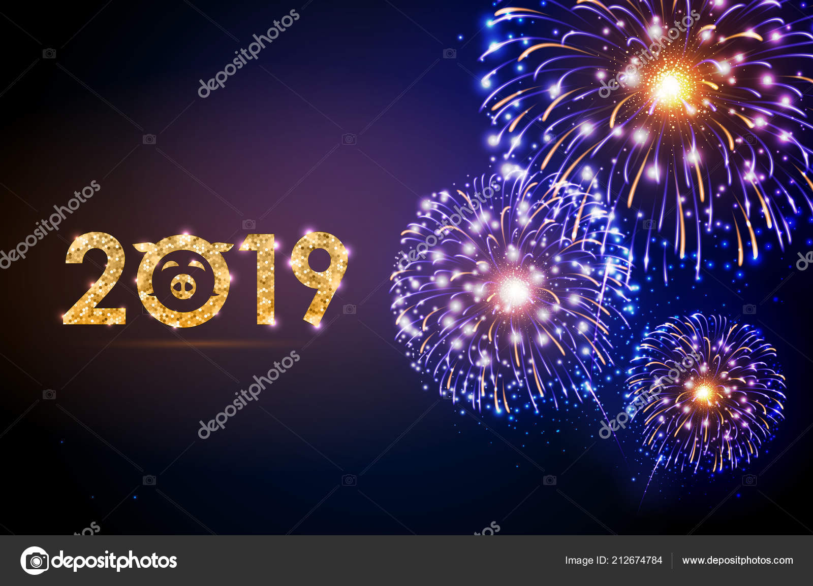 vector holiday festival blue firework happy new year card 2019 stock vector