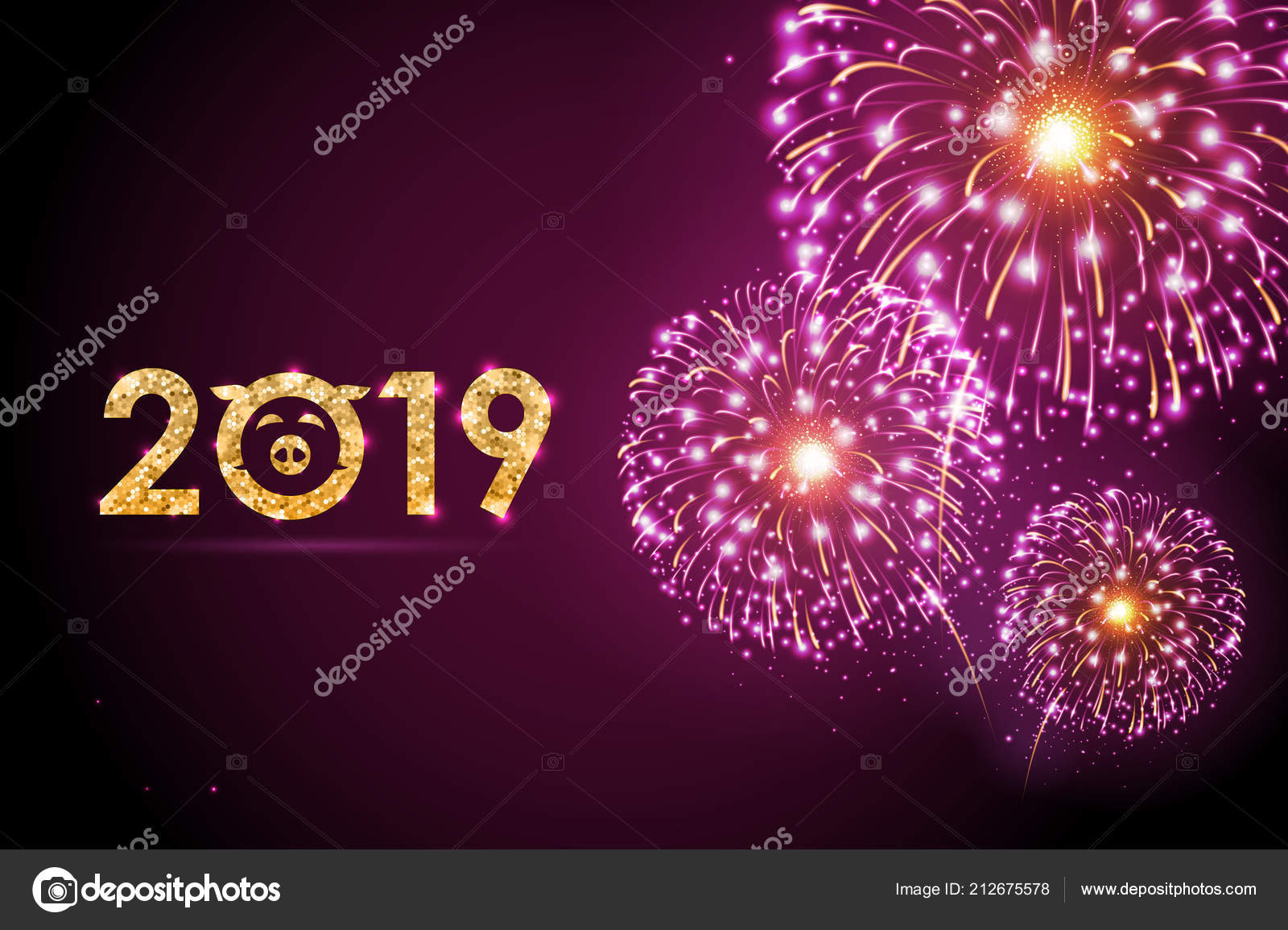 vector holiday festival pink firework happy new year card 2019 stock vector