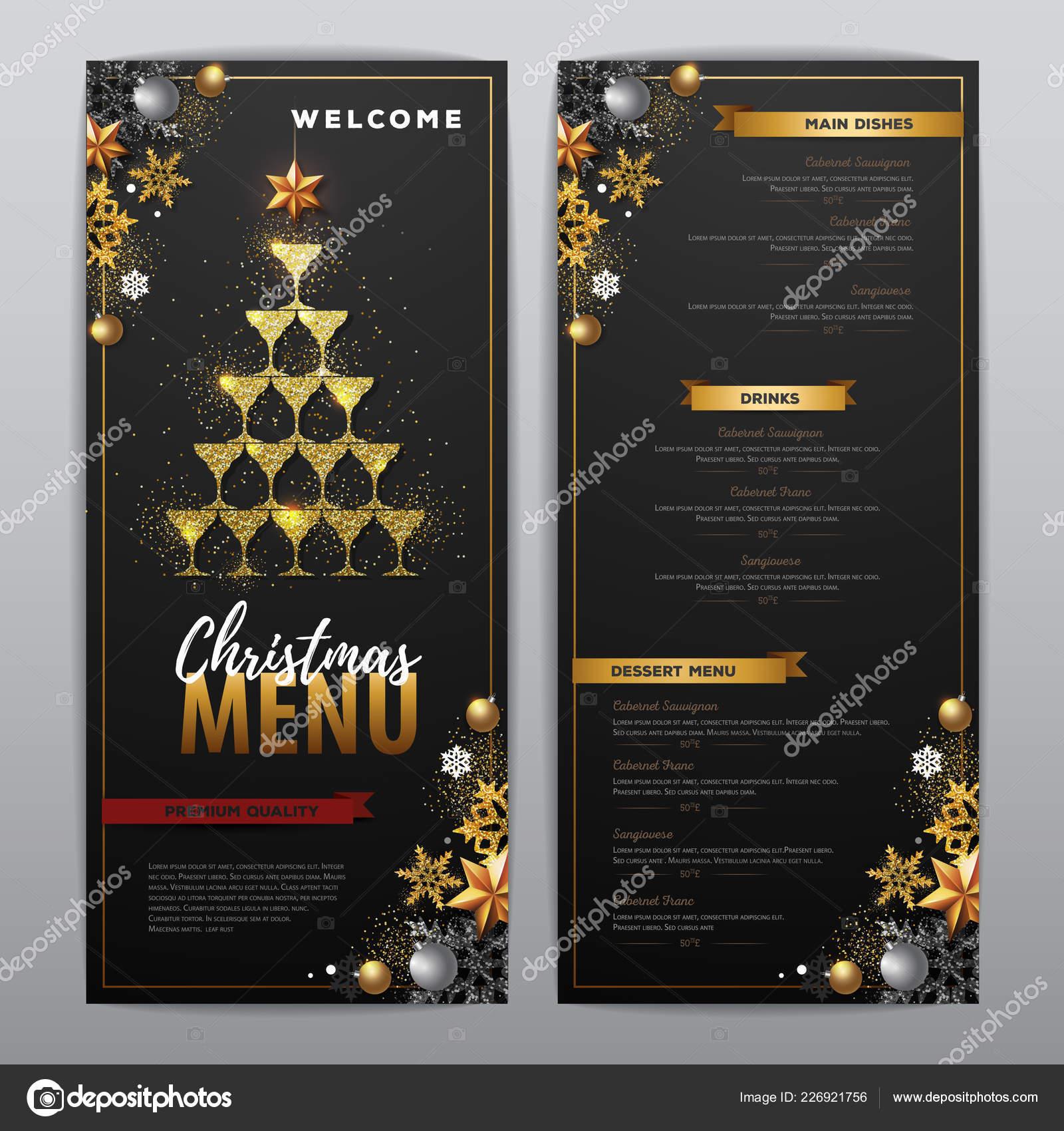 christmas menu design golden champagne glasses restaurant menu