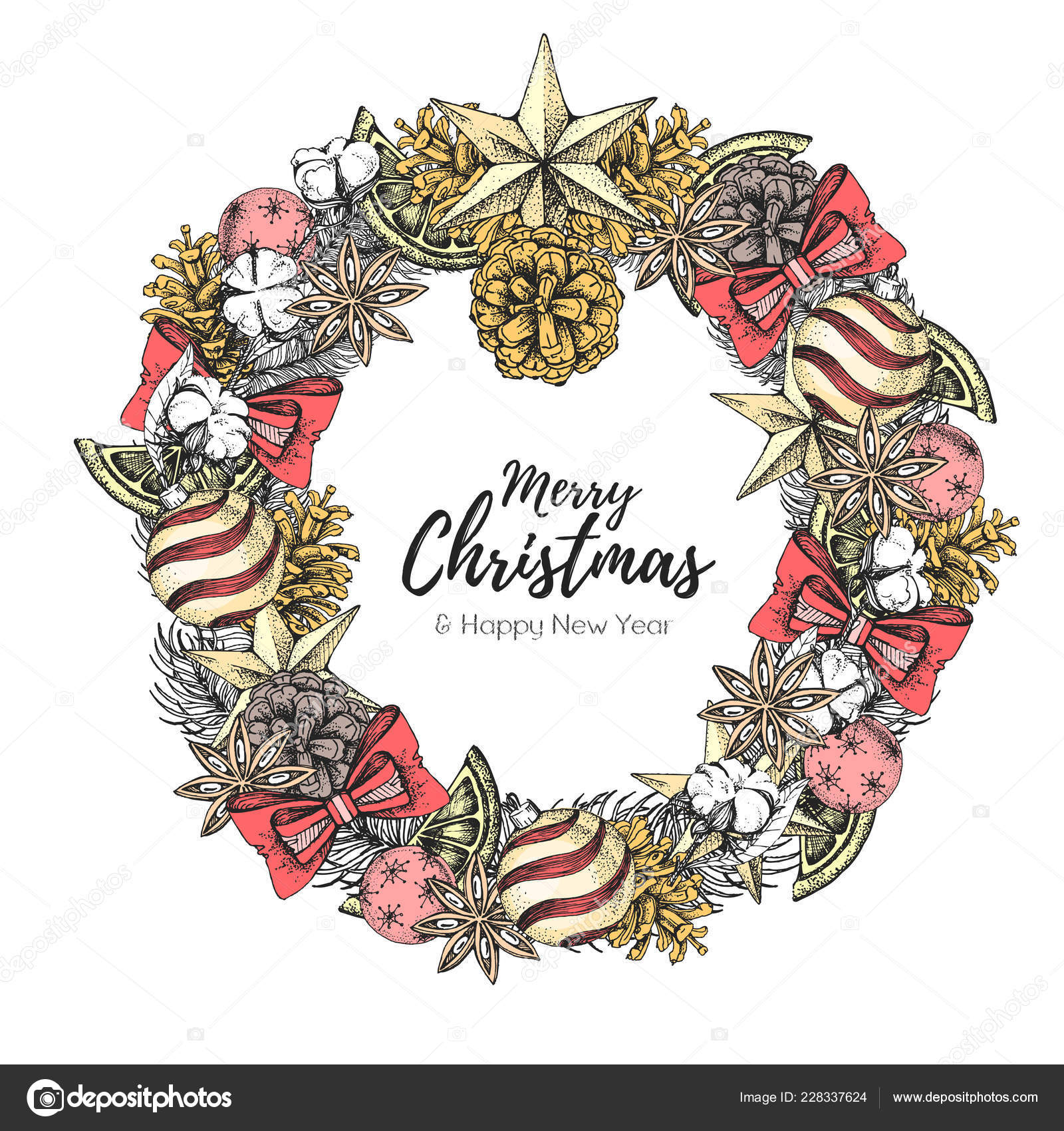 Christmas Concept Design Christmas Holiday Decorative Wreath Hand Drawing Vector Illustration Vector Image By C Annbozshko Vector Stock 228337624