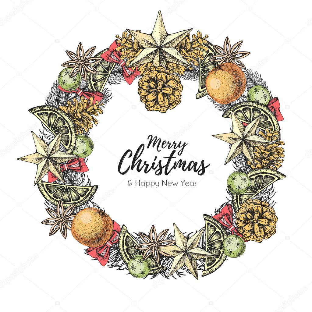 Christmas Concept Design Christmas Holiday Decorative Wreath Hand Drawing Vector Illustration Premium Vector In Adobe Illustrator Ai Ai Format Encapsulated Postscript Eps Eps Format