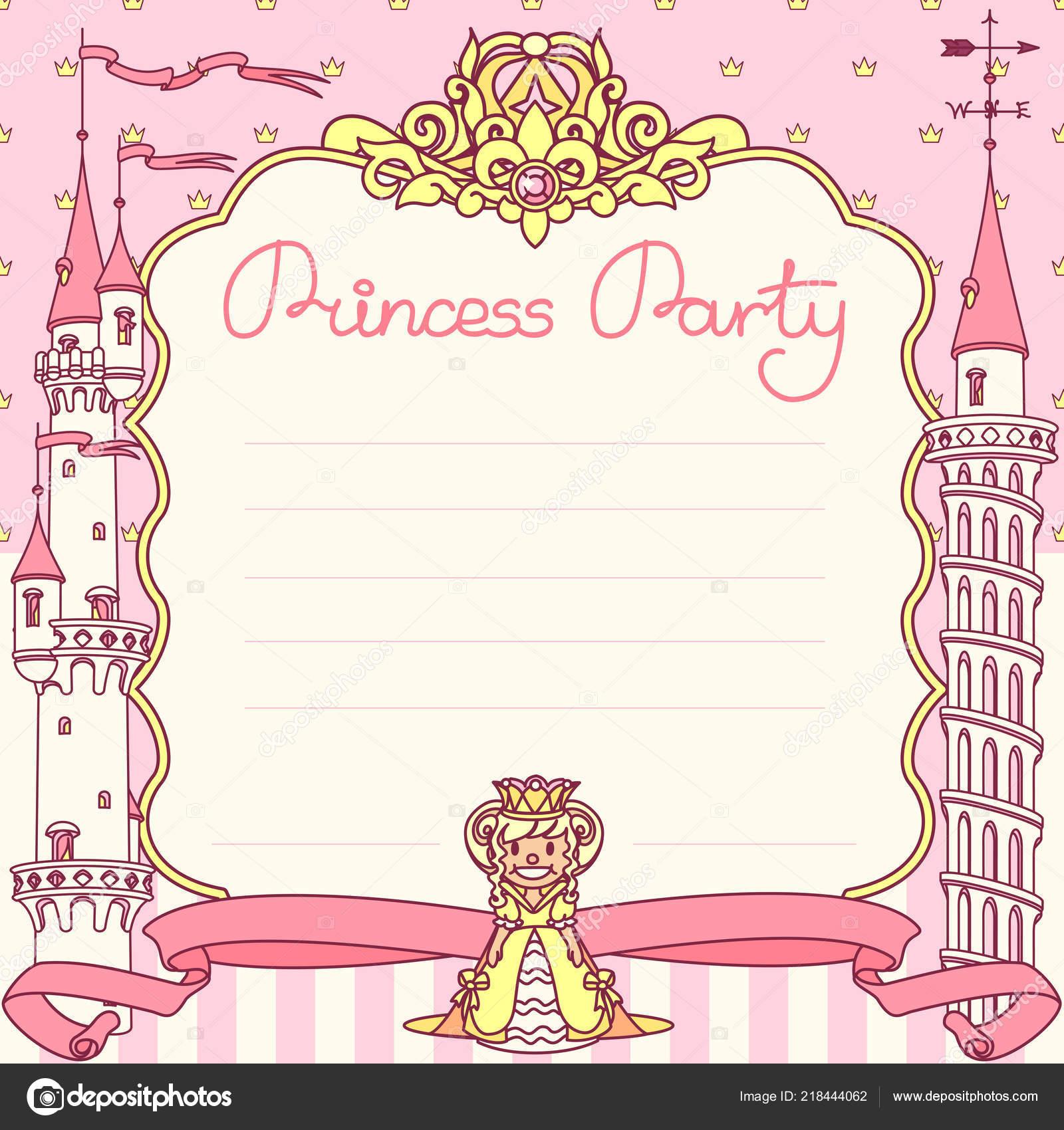 Vector Princess Party Invitation Template Concept Stock Vector