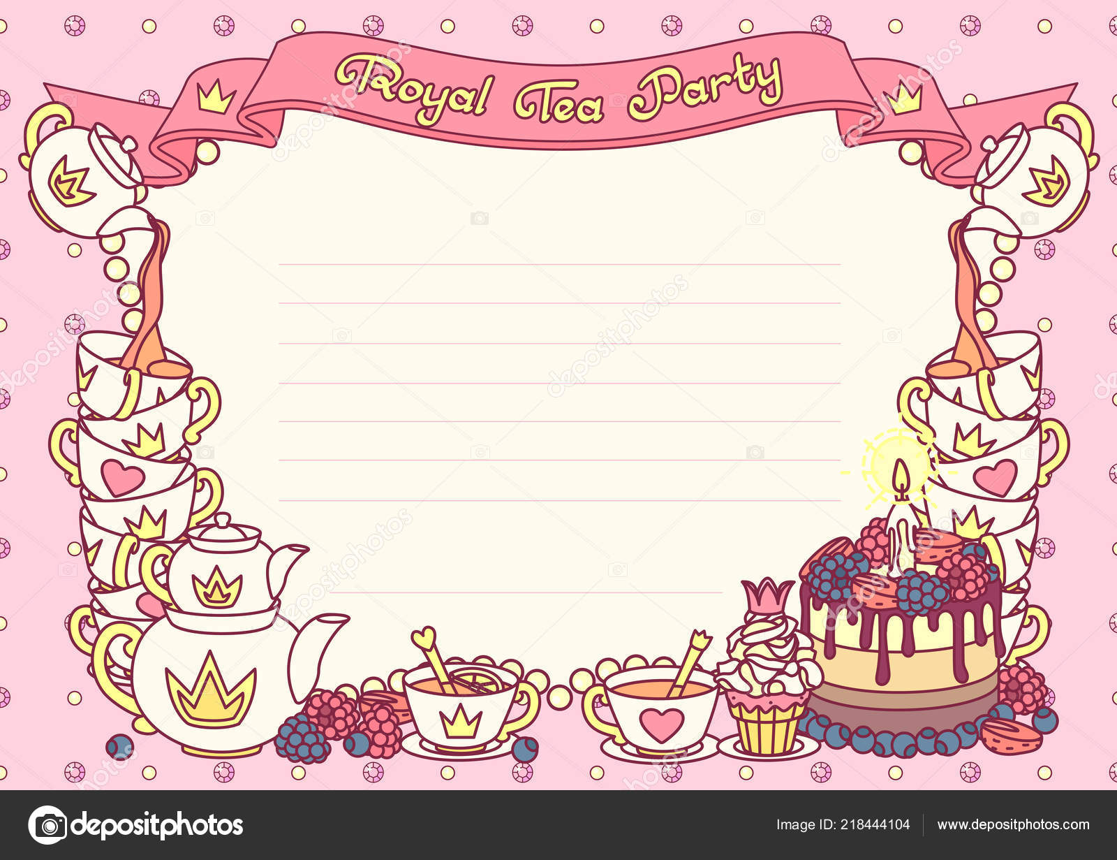 vector royal tea party invitation template concept stock vector