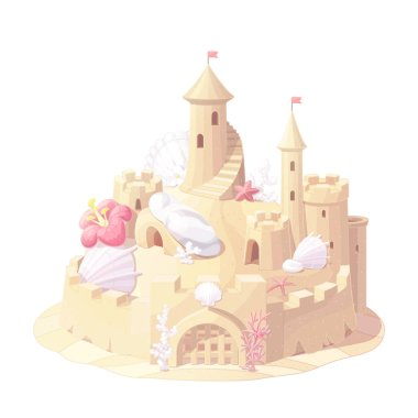 vector fantasy castle sand, sandcastle