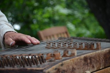 hands of old man playing the dulcimer