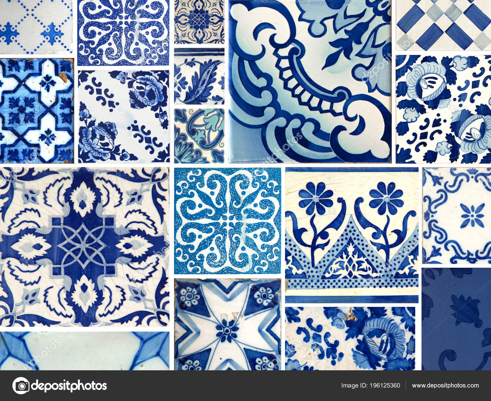 Collection Different Blue Patterns Tiles Different Size — Stock ...