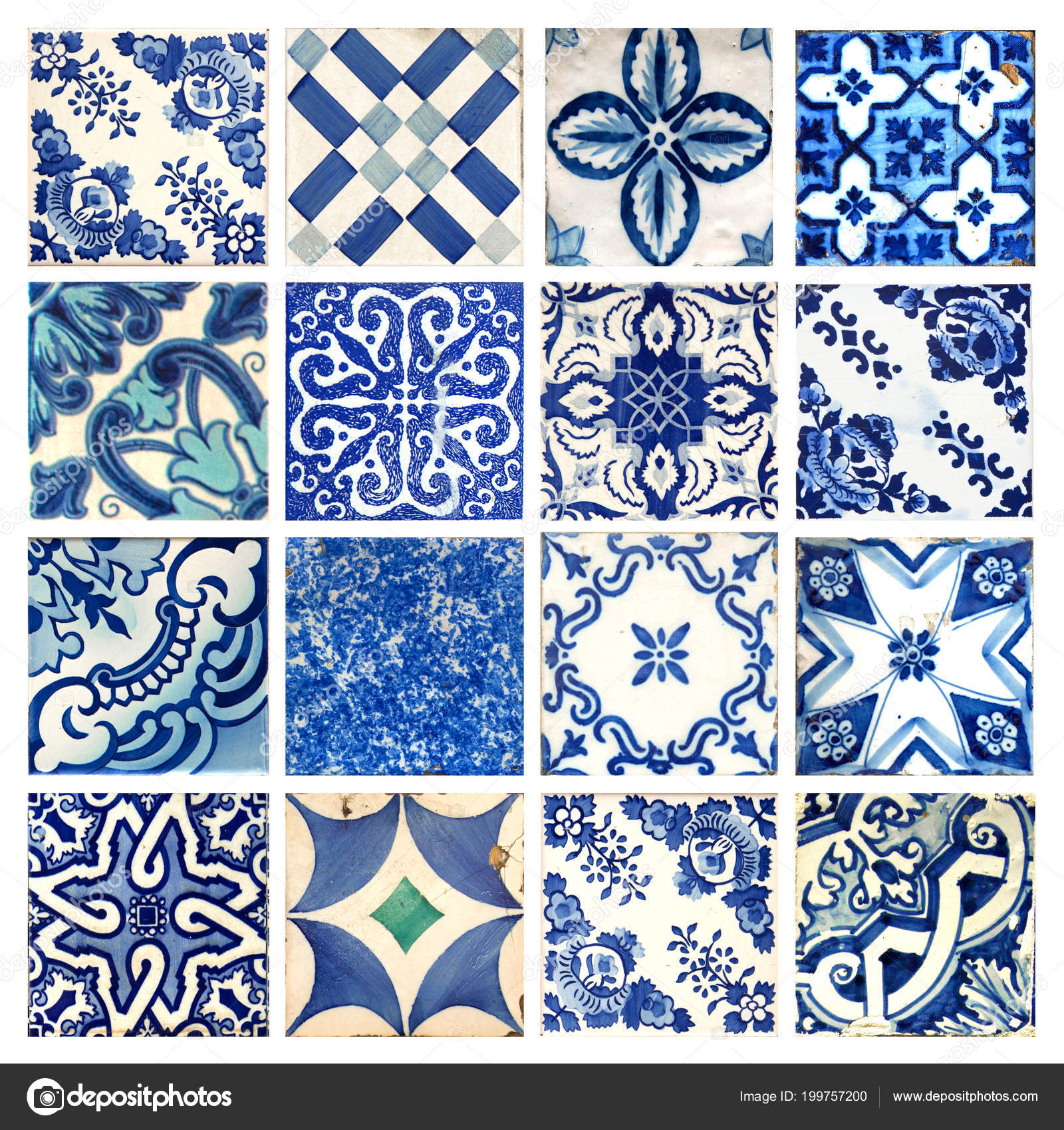 Photograph Traditional Portuguese Tiles Different Colours Patterns ...