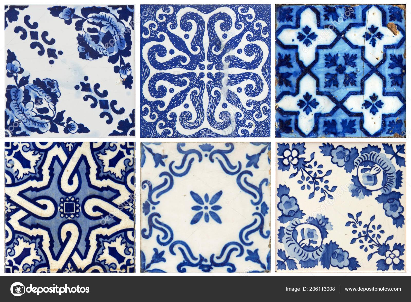 Photographe tradizionale portoghese piastrelle blu con fiori