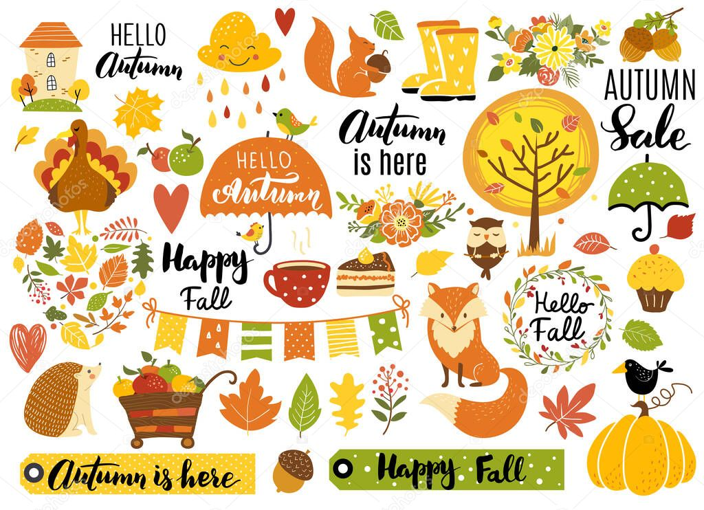Autumn Set Hand Drawn Elements Calligraphy Fall Leaves Forest Animals Wreaths And Other Perfect For Web Card Poster Cover Tag Invitation Sticker Kit Vector Illustration Premium Vector In Adobe Illustrator Ai