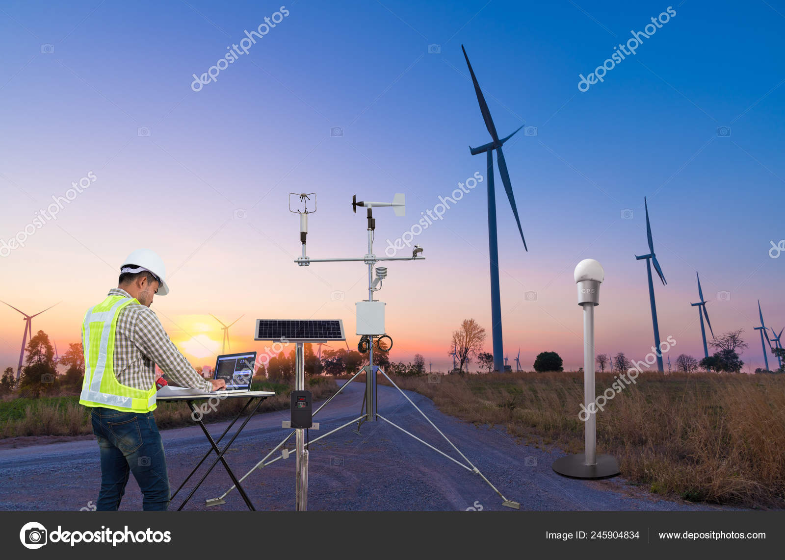 Engineer Using Laptop Computer Collect Data Meteorological