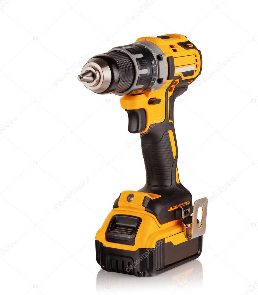 modern cordless drill, screwdriver on white background